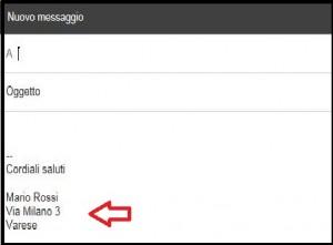 schermata di un nuovo messaggio di Gmail con una freccia rossa che indica la firma