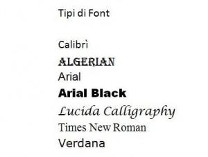 Schermata con vari tipi di font