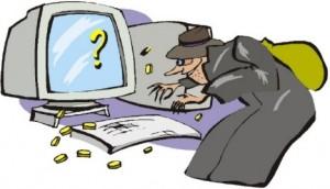 Figura di una persona somigliante ad una strega che si avvicna al computer con intenzioni di fare soldi
