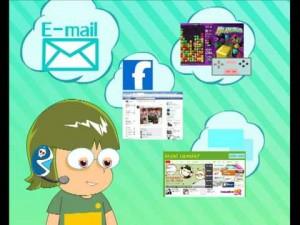 Testa di bambino che sogna in tante nuvolette: Facebook, videogiochi, e-mail e informazioni