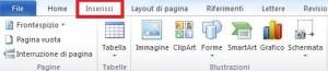 Immagine di parte di barra multifunzioni di Word con aperta ed evidenziata la cartella Inserisci