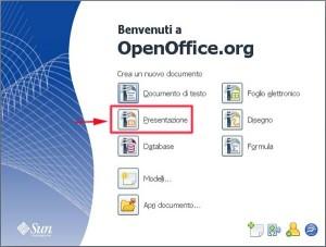 Pagina iniziale di Open Office con evidenziato in rosso Impress