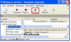 Schermata di Outlook con evidenziato il comando Inoltra