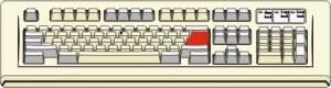 Tastiera con tasto invio colorato di rosso