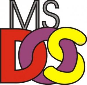 Logo di MS DOS con le lettere che compongono DOS colorate e intrecciate tra loro