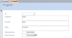 parte di schermata con un esempio di maschera del data base progetti