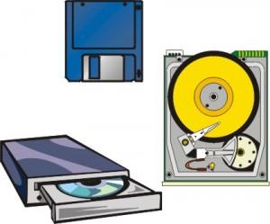 Disegno di un dischetto, di un disco rigido aperto e di un drive per CD