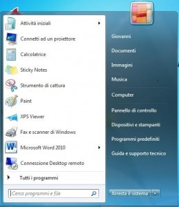Immagine del menu Start di Windows 7