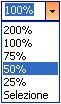 Pulsante dello Zoom con aperta la tendina dove è selezionato 50%