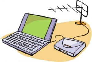 Disegno di un computer collegato ad un modem che a sua volta è collegato ad una antenna