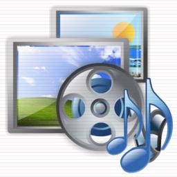 figura con sullo sfondo due fotografie di paesaggi, davanti una bobina di pellicola cinematografica e due note musicali