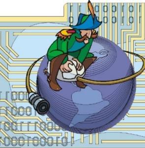 Marinaio con baffi seduto su di un mouse il cui filo avvolge il mondo