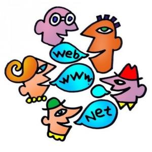 Disegno di teste di 5 persone che comunicano con parole informatiche (web, www, net)