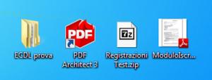 Parte di schermo con una cartella, un collegamento ad un programma, un documento compresso ed un documento pdf