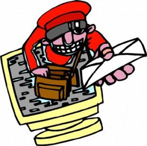Figura di postino che esce dal video per recapitarti una lettera