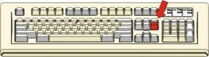 Figura di tastiera con tasto evidenziato in rosso