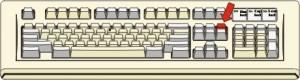 Tastiera con il tasto Pag su evidenziato in rosso