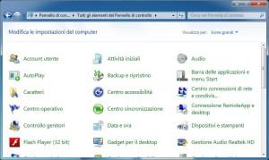Videata del pannello di controllo di Windows 7