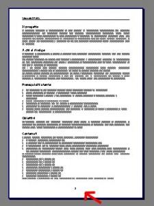Pagina di testo con indicato da una freccia rossa il numero di pagina in fondo al foglio