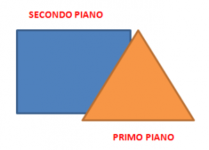 Triangolo arancio in primo piano e rettangolo azzurro in secondo piano