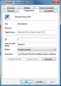 Schermata delle proprietà di Word 2010