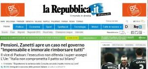 schermata con la home page di la Repubblica