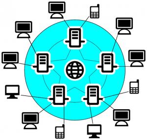 Disegno di 5 computer server messi a cerchio e di altri 12 dispositivi, (computer, TV e cellulari) collegati tutti tra loro