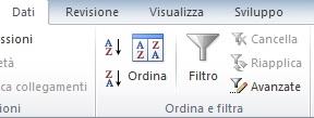 Parte della barra multifunzione di Office 2010, scheda Dati, dove è visibile il comando Ordina