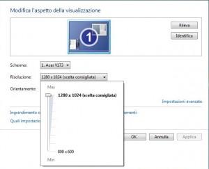 Schermata 'Modifica l'aspetto di visualizzazione' con aperta la tendina 'Risoluzione'