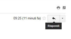 Tasto Rispondi della posta Gmail