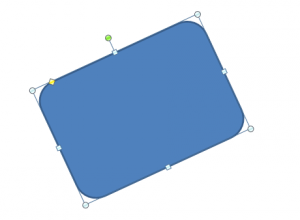 Figura rettangolare che sta ruotando in senso antiorario