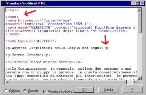 pagina di programma HTML con evidenziati da frecce rosse due Tag