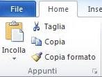 Immagine ingrandita della scheda dove stanno in Word i comandi Taglia, copia, copia formato