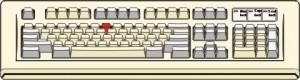 Figura di tastiera con un tasto rosso