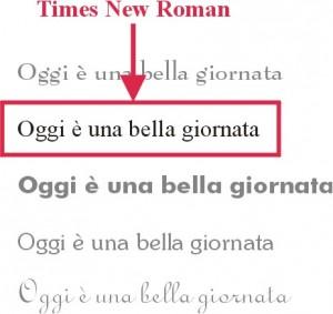 Foglio con vari font tra cui Times New Roman evidenziato da una freccia ed un triangolo rossi