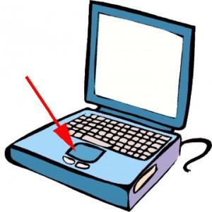 computer portatile aperto con una freccia rossa che indica il Touchpad