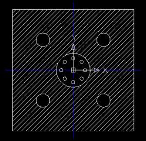 Disegno di un quadrato con zone tratteggiate