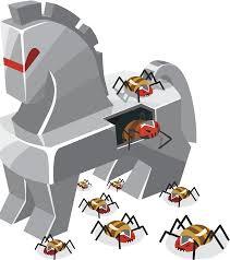 Immagine con cavallo di Troia da cui escono i virus
