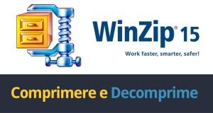 immagine con il marchio di WinZip 15 e sotto una scritta Comprimere in giallo e Decomprimere in blu