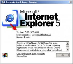 schermata con le informazioni relative ad Internet Explorer 5
