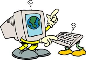 Disegno di un computer con mani, piedi e una antenna in testa che scrive su una tastiera con i piedi che ha un'antenna.