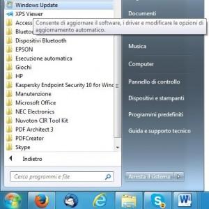 Schermata Windows 7 con selezionato Windows update e con la sua spiegazione