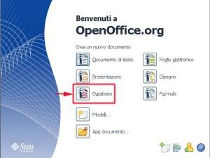 Home page di Open Office con segnato in rosso il programma Base