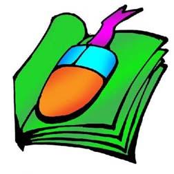 Disegno di libro con un mouse in mezzo