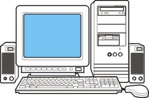 disegno di un computer con video, tastiera, mouse e casse acustiche.