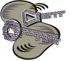 Nuvola grigia con sopra disegnate due chiavi fatte con codice binario