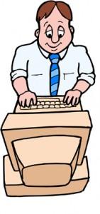 disegno di impiegato statale davanti ad un computer