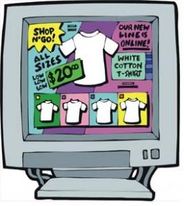 Schermata di video con magliette in vendita