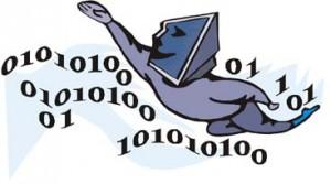 Uomo blu che naviga nei codici binari