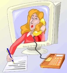 Video con all'interno una segretaria prende appunti mentre parla al telefono